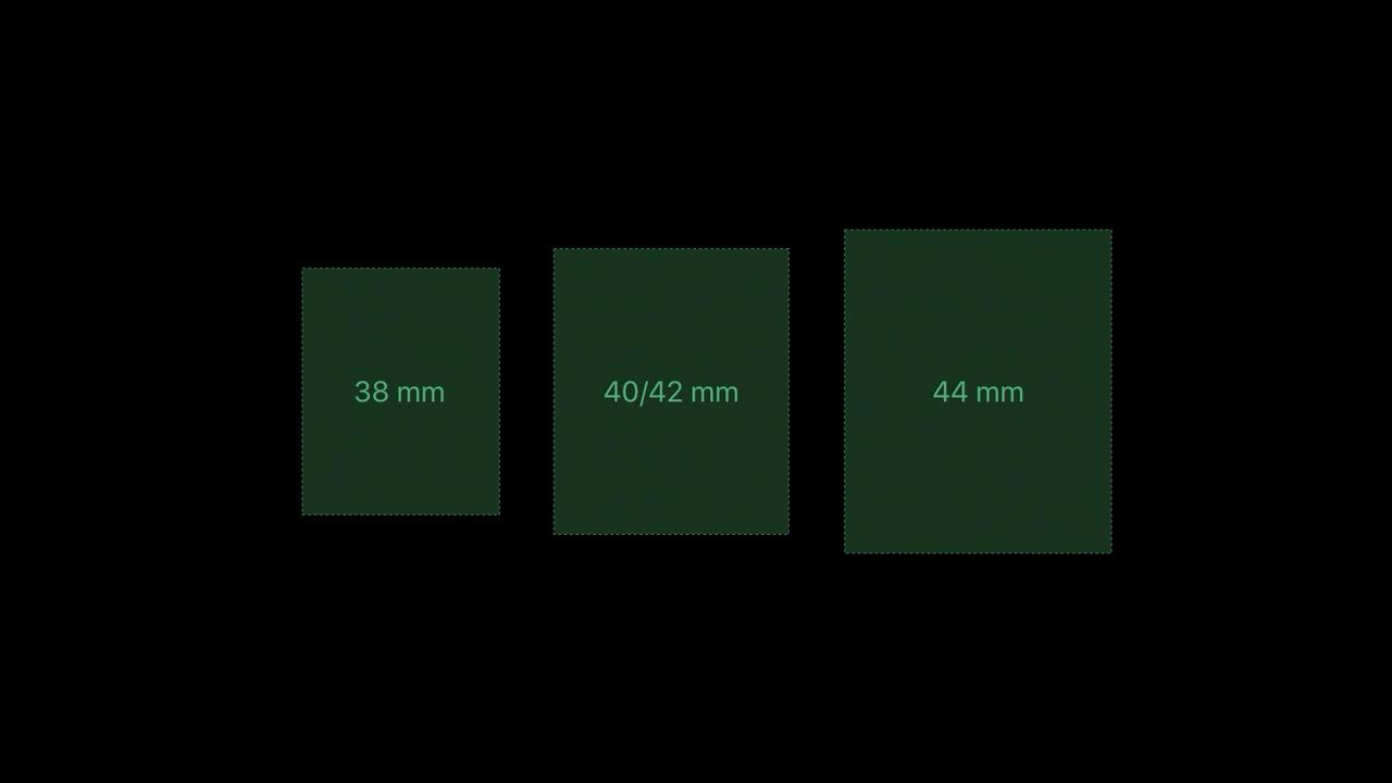 新型号的出现将 Apple Watch 的尺寸划为三个档次(来源:苹果)