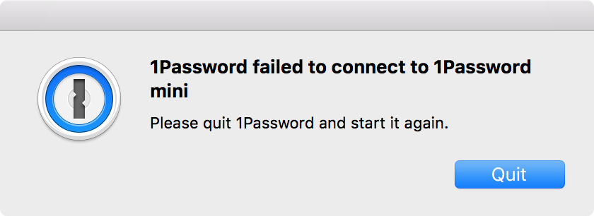 Unable to start 1Password