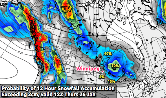 Probability of Snowfall >= 2cm