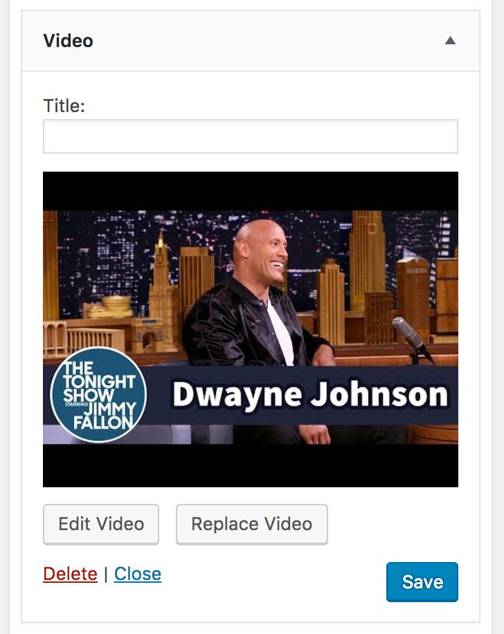 Video Widget WordPress 4.8