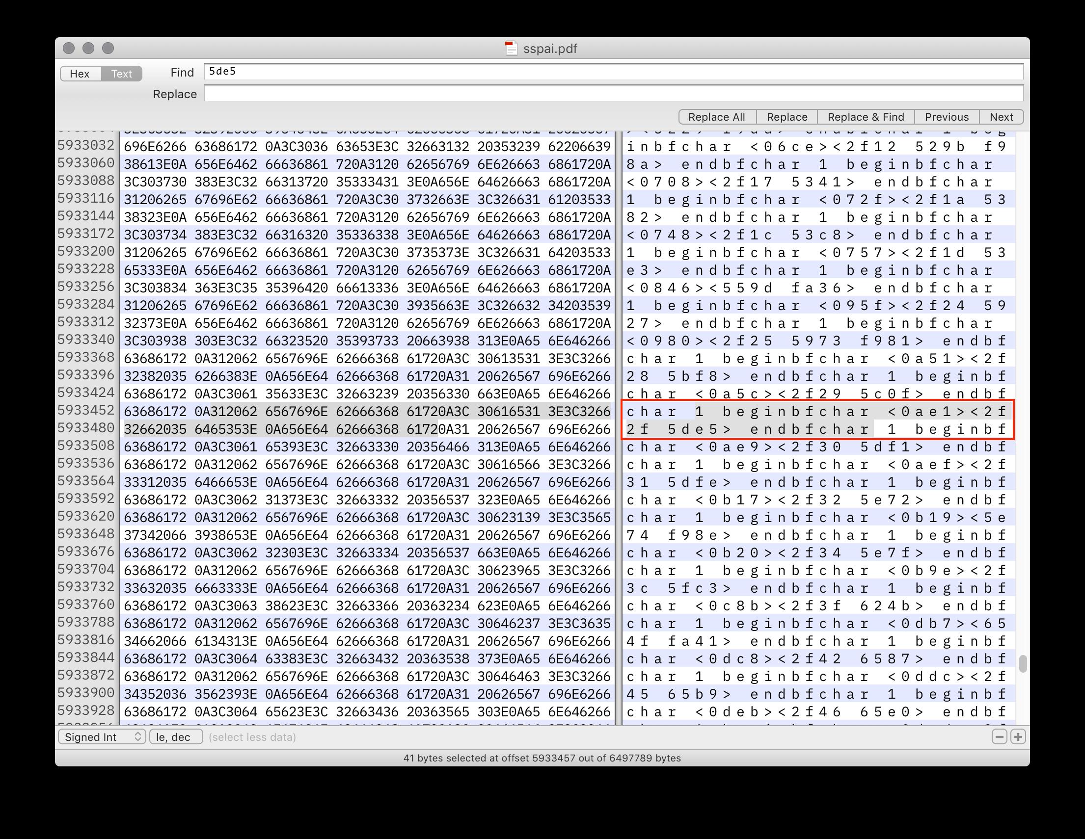 PDF 源码中提及的「工」字 Unicode 编码