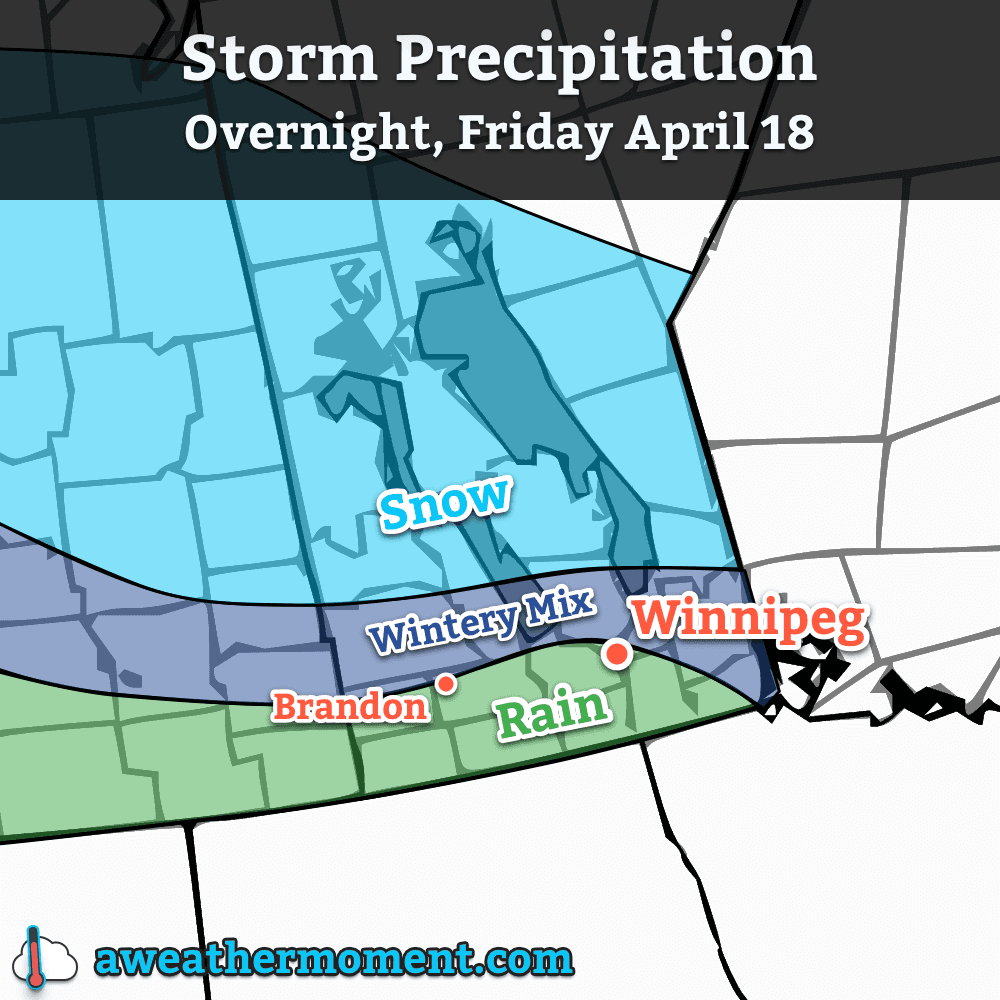 Expected precipitation types for tonight's storm system.