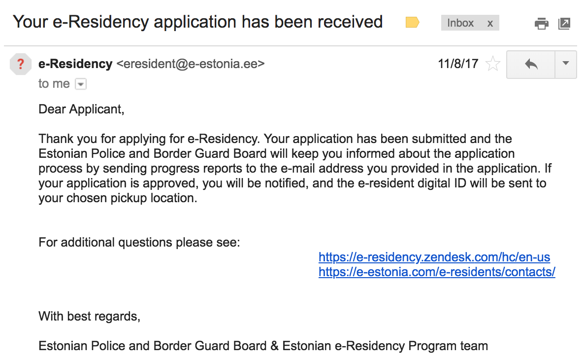 e-Residency application has been received