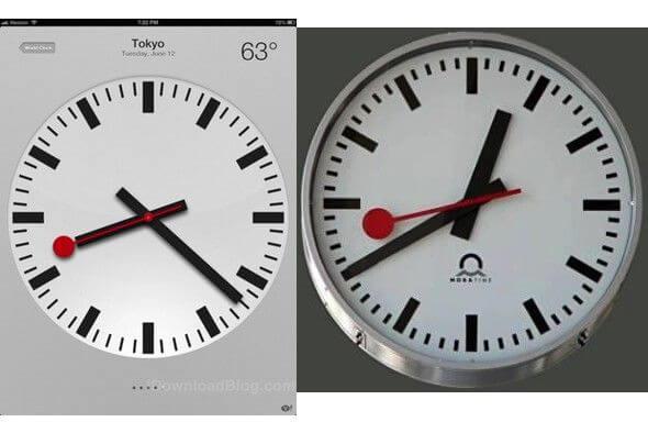 苹果在 iOS 6 中涉嫌「抄袭」的时钟和瑞士铁路的设计原型(来源:Cult of Mac)