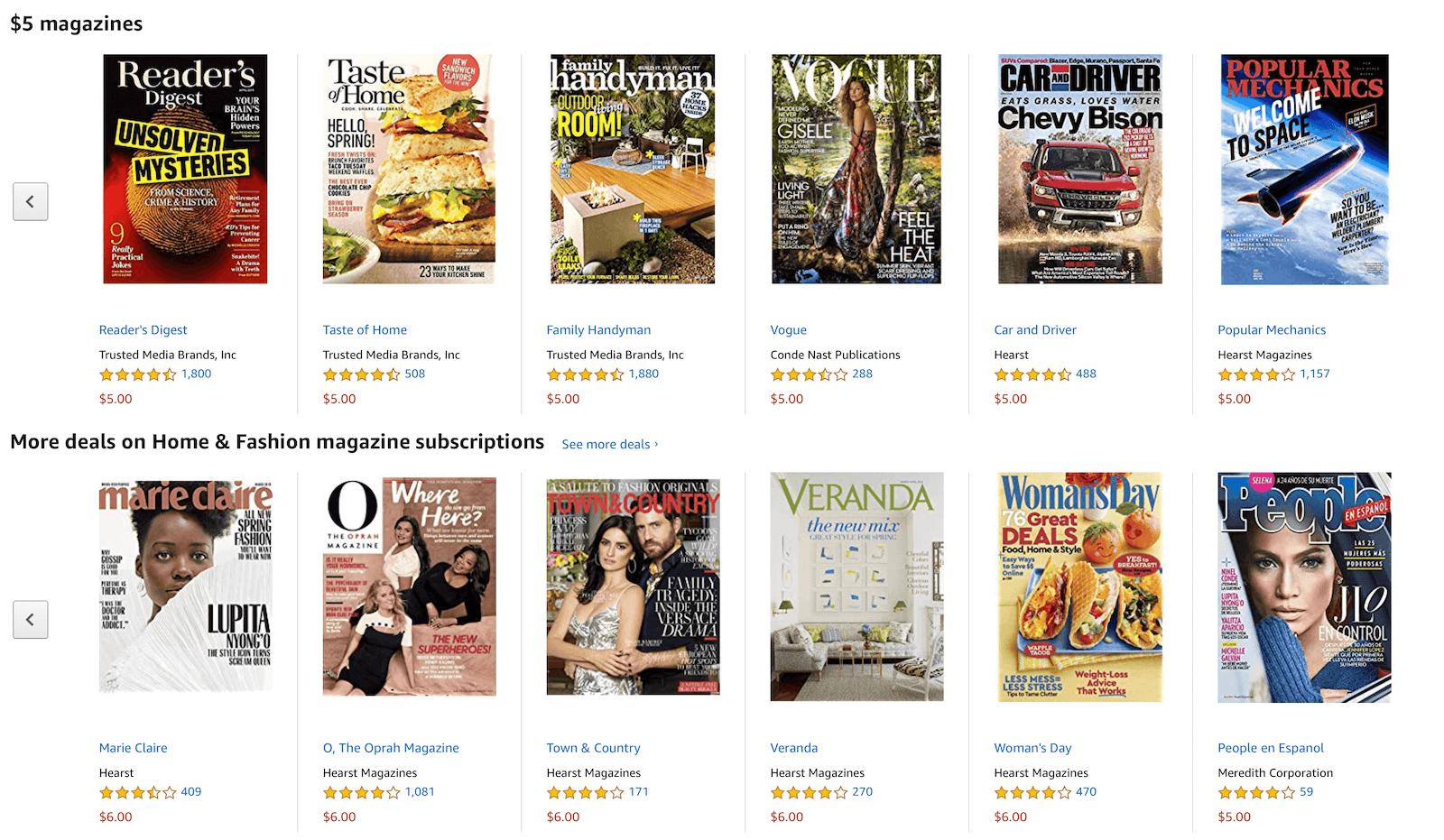 亚马逊上几乎每天都会出现的廉价杂志订阅,其中很多是 Apple News+ 所收录的