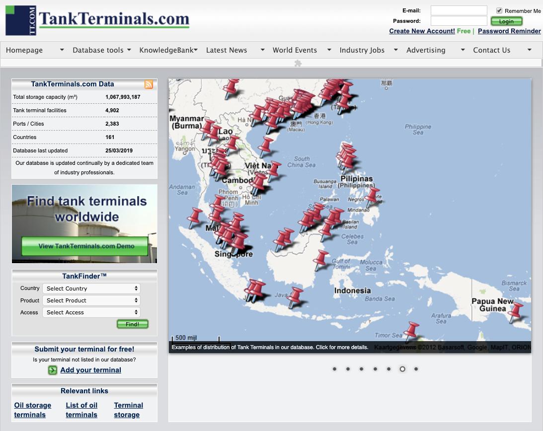 TankTerminals.com - Former Website & Platform