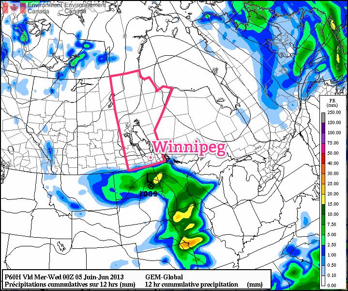 GDPS Precipitation for Tuesday.