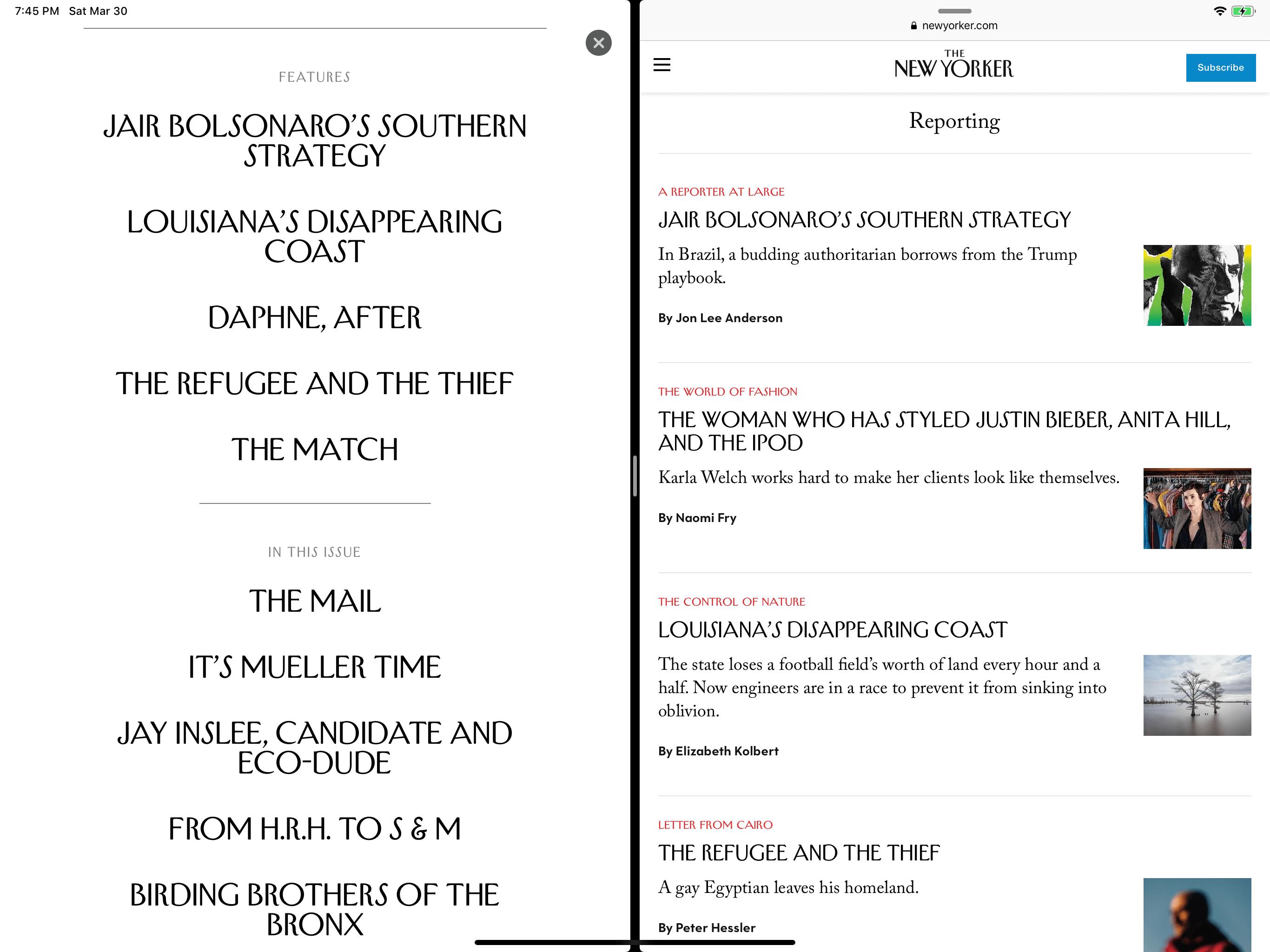 《纽约客》杂志在 Apple News+ 和网页上的目录;前者省略了很多有用信息