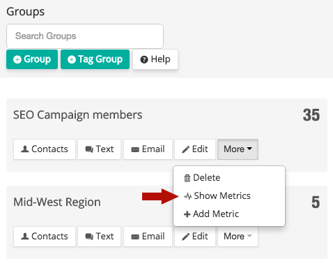 Metrics button on groups menu