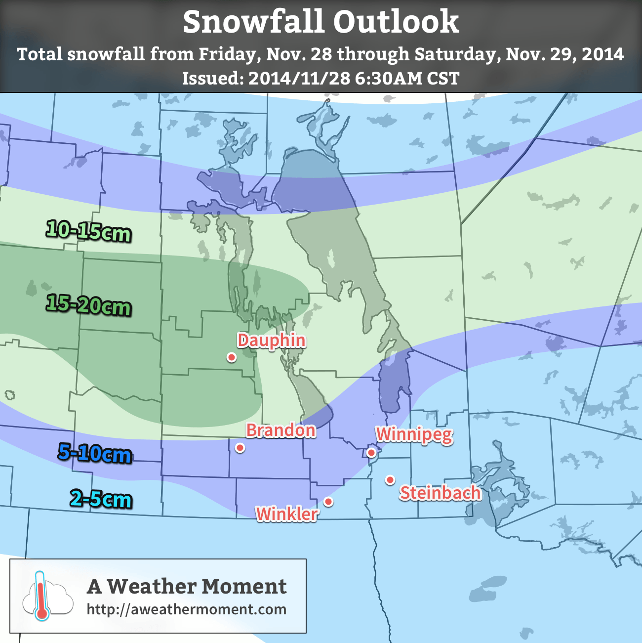 """The """"most probable"""" snowfall totals from the morning of Friday November 28th to the evening of Saturday November 29th, 2014."""