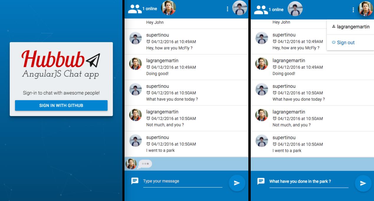 AngularJS Hubbub Screenshot