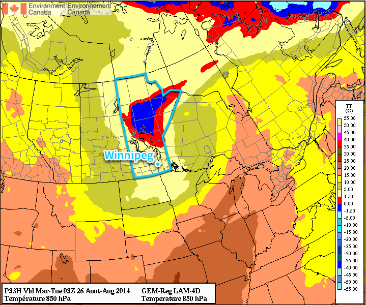 Forecast 850mb temperatures for this afternoon show a trough of cold air anchored over Manitoba.