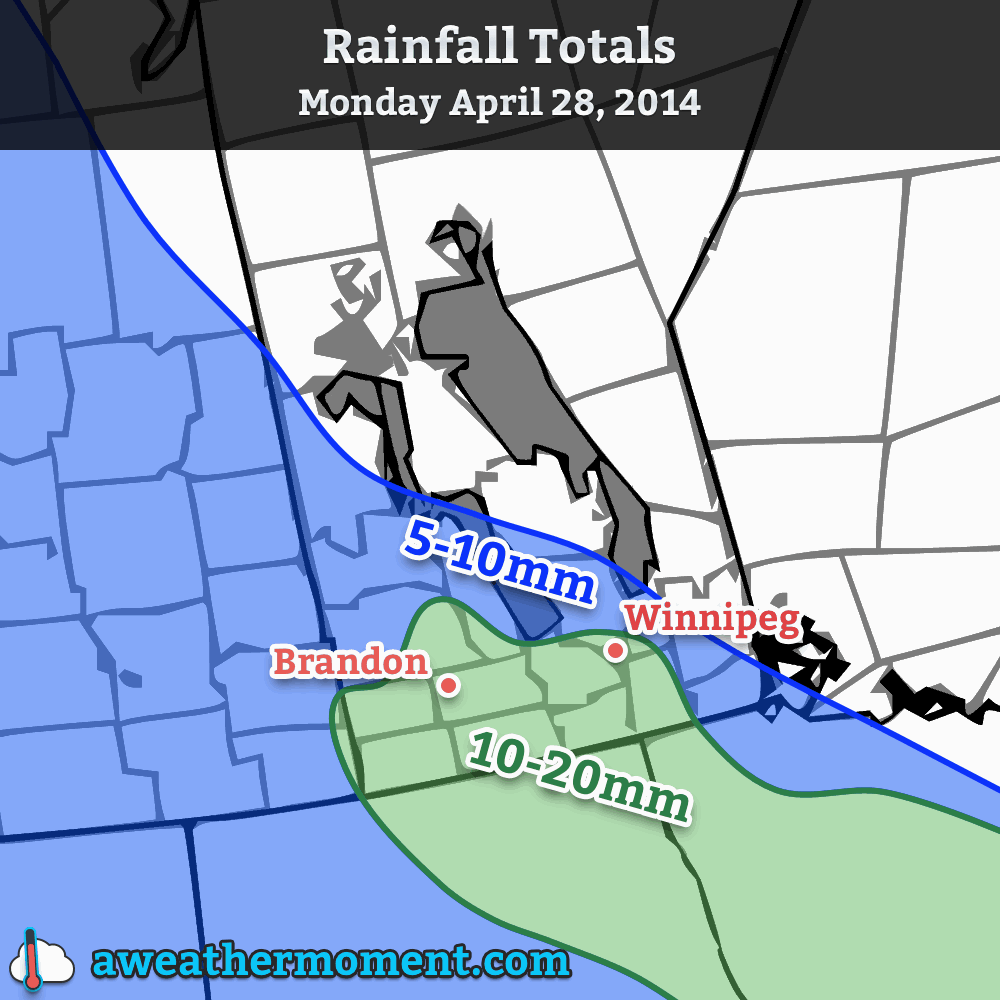 Total rainfall expected today across Southern Mantioba.