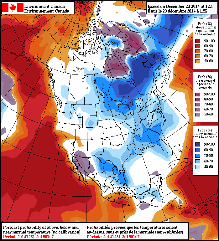 The NAEFS 8-14 day temperature outlook is foreacsting a good chance of below-normal temperatures for Southern Manitoba.
