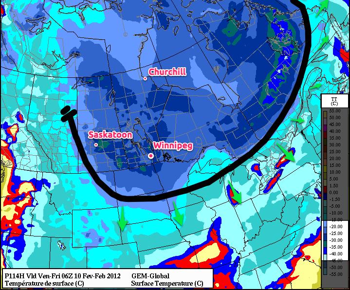 Friday Morning GEMGLB Forecast Temperatures