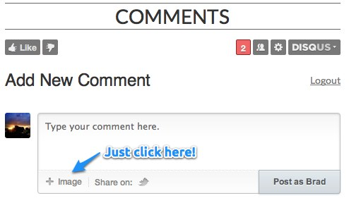 How to attach a photo to a comment