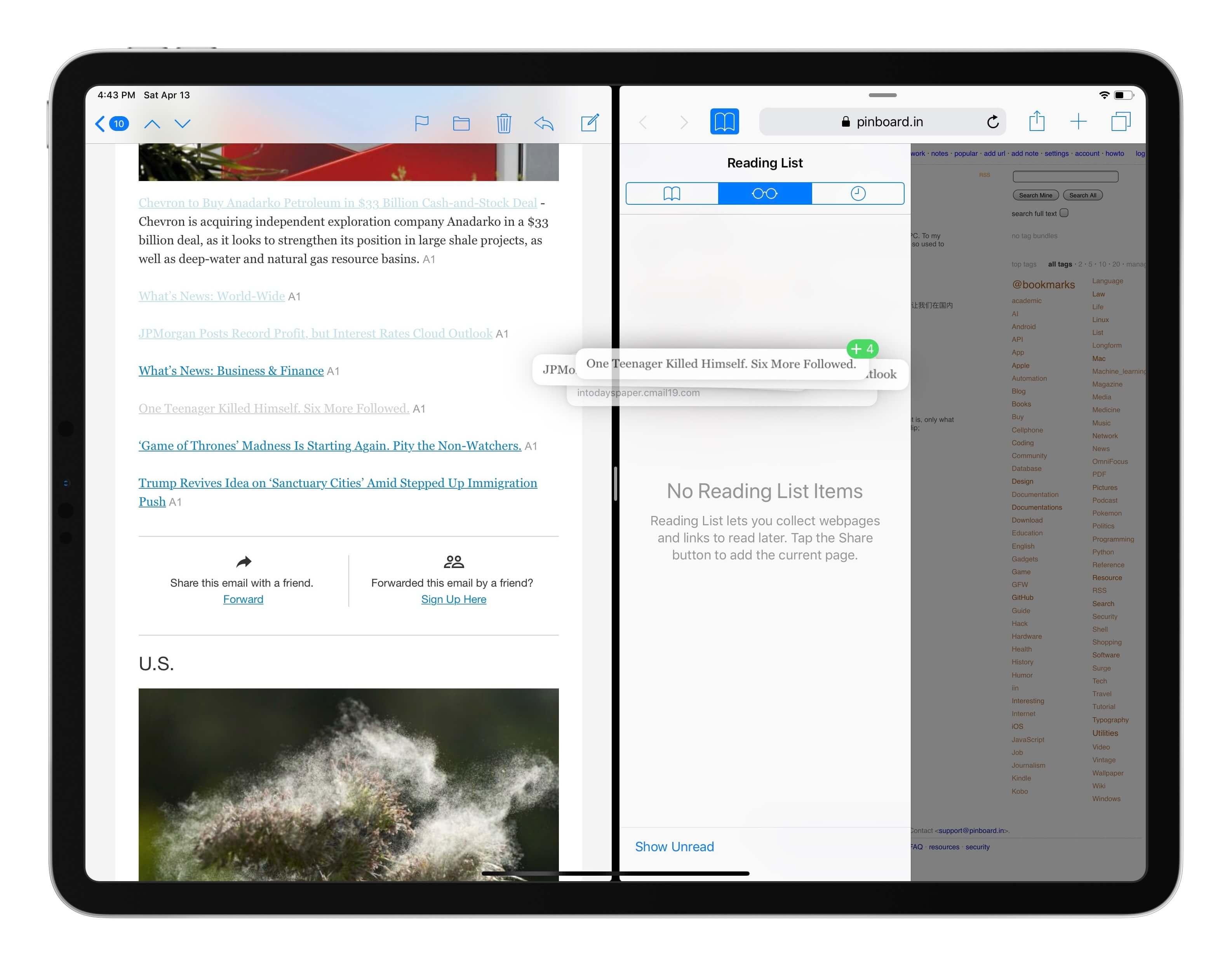 用拖放手势在 iPad 上批量添加阅读列表链接
