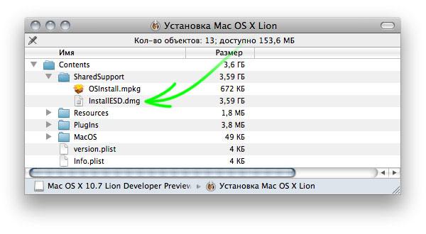 Содержание пакета Install Mac OS X.app