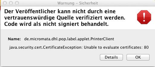 Java Fehler DHL Versandmarke