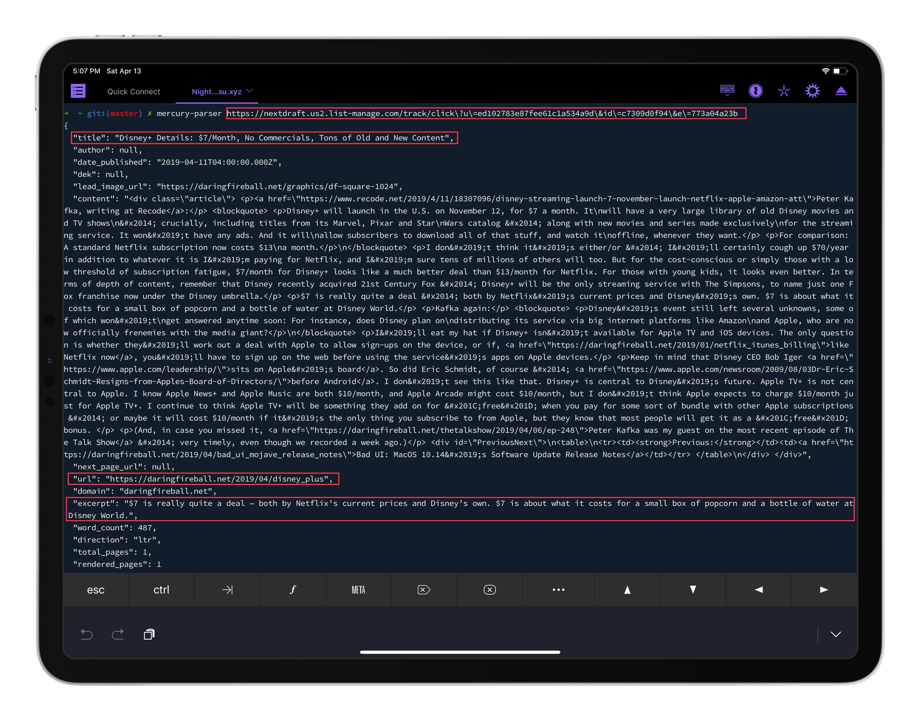 Mercury 正确获取了跳转 URL 指向的原始网页相关信息