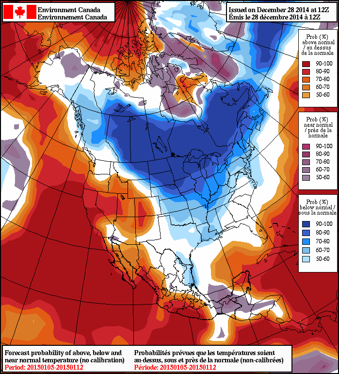 The NAEFS shows a high probabilty of below-normal temperatures next week.