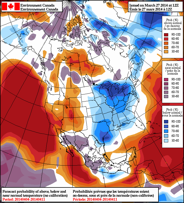 The NAEFS 8-14 day outlook is showing near-normal temperatures for Southern Manitoba.