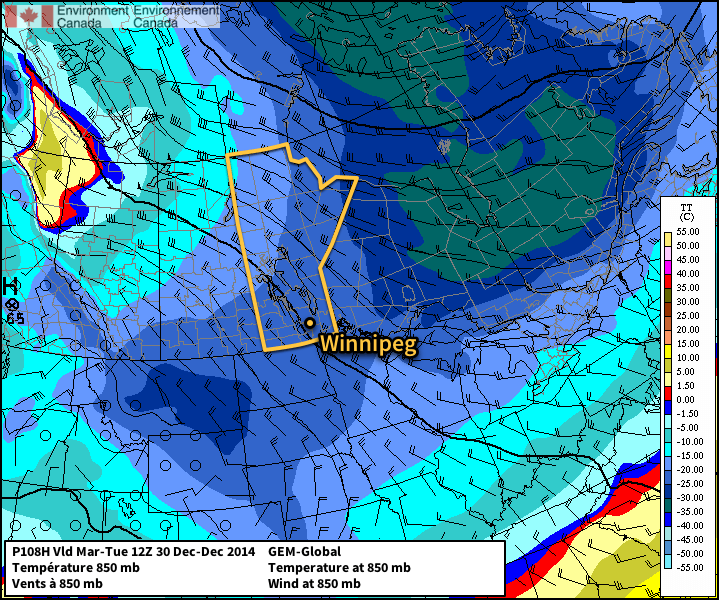 The GDPS forecast shows Southern Manitoba embedded in a deep cold trough on Monday afternoon.