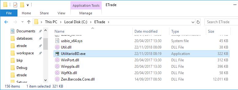 UtilitarioBD.exe arquivo de comandos no banco