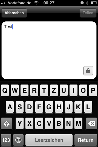 Facebook app sharing screen – old style