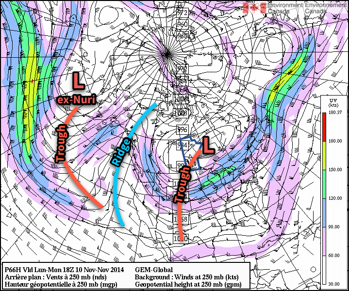 The GDPS shows prominent ridging over the west coast of North America, resulting in a deep upper-level trough over central & eastern North America.