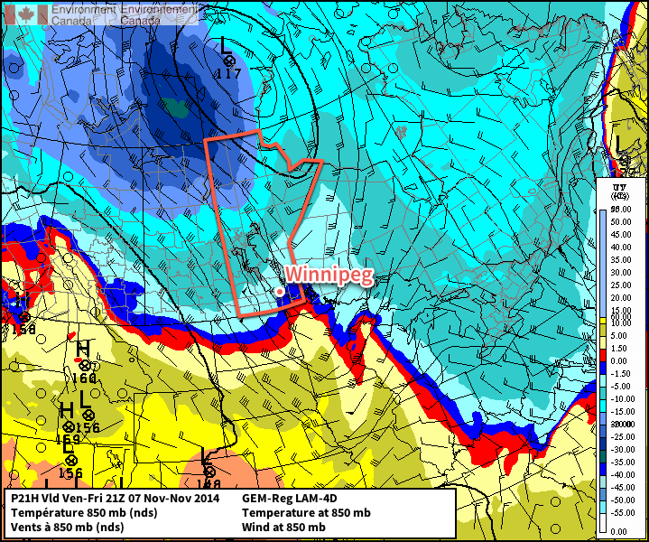 This map of 850mb winds and temperatures shows a potent cold front pushing through Southern Manitoba this afternoon.