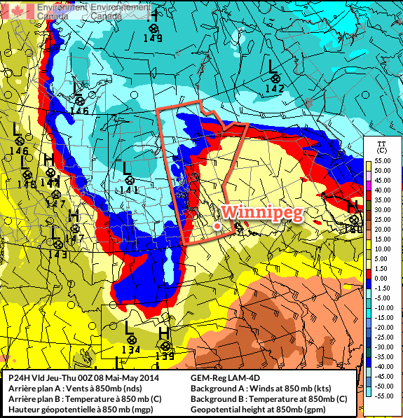 A complicated, high-amplitude flow is developing over the eastern Prairies.