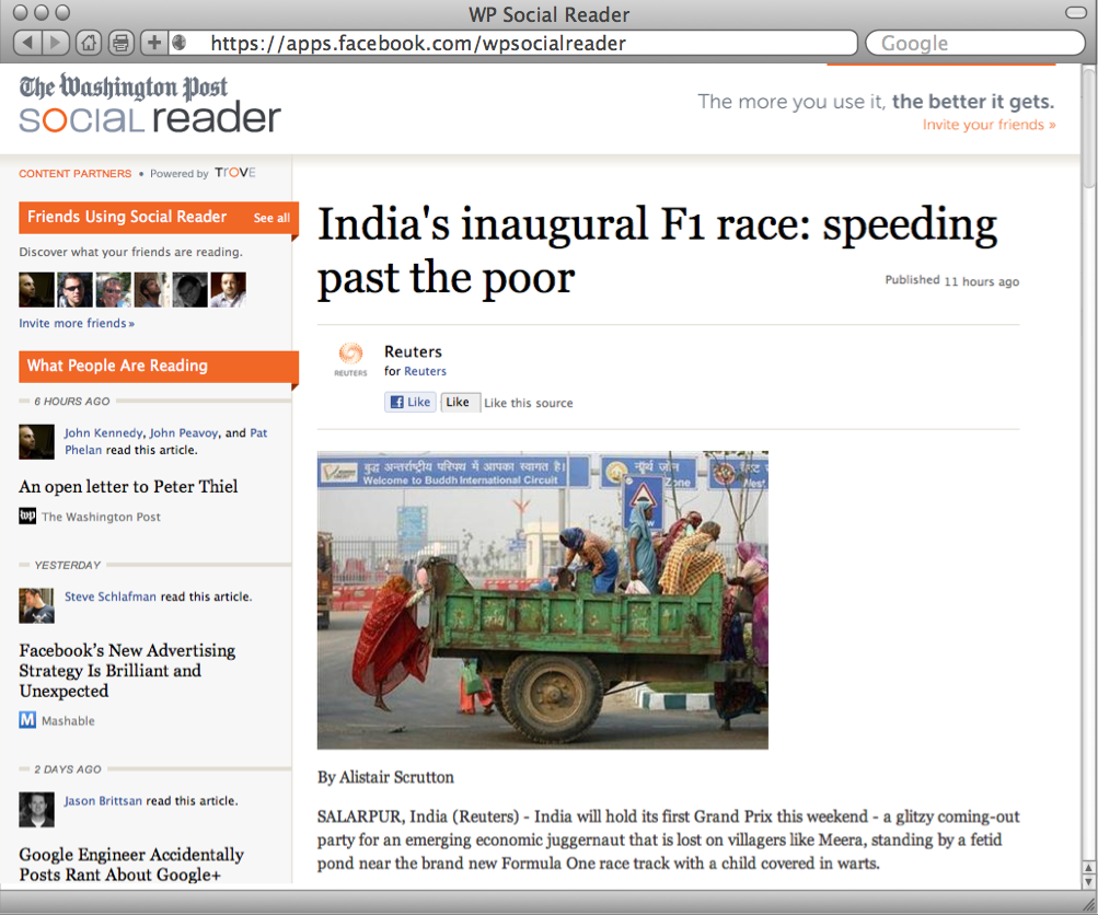 Washington Post Social Reader : Article View