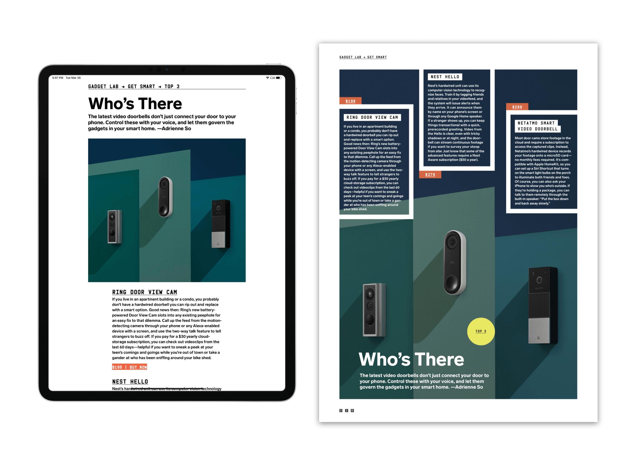 《连线》杂志同一篇文章在 Apple News+ 上和纸刊上的对比;注意前者多出的「立即购买」链接
