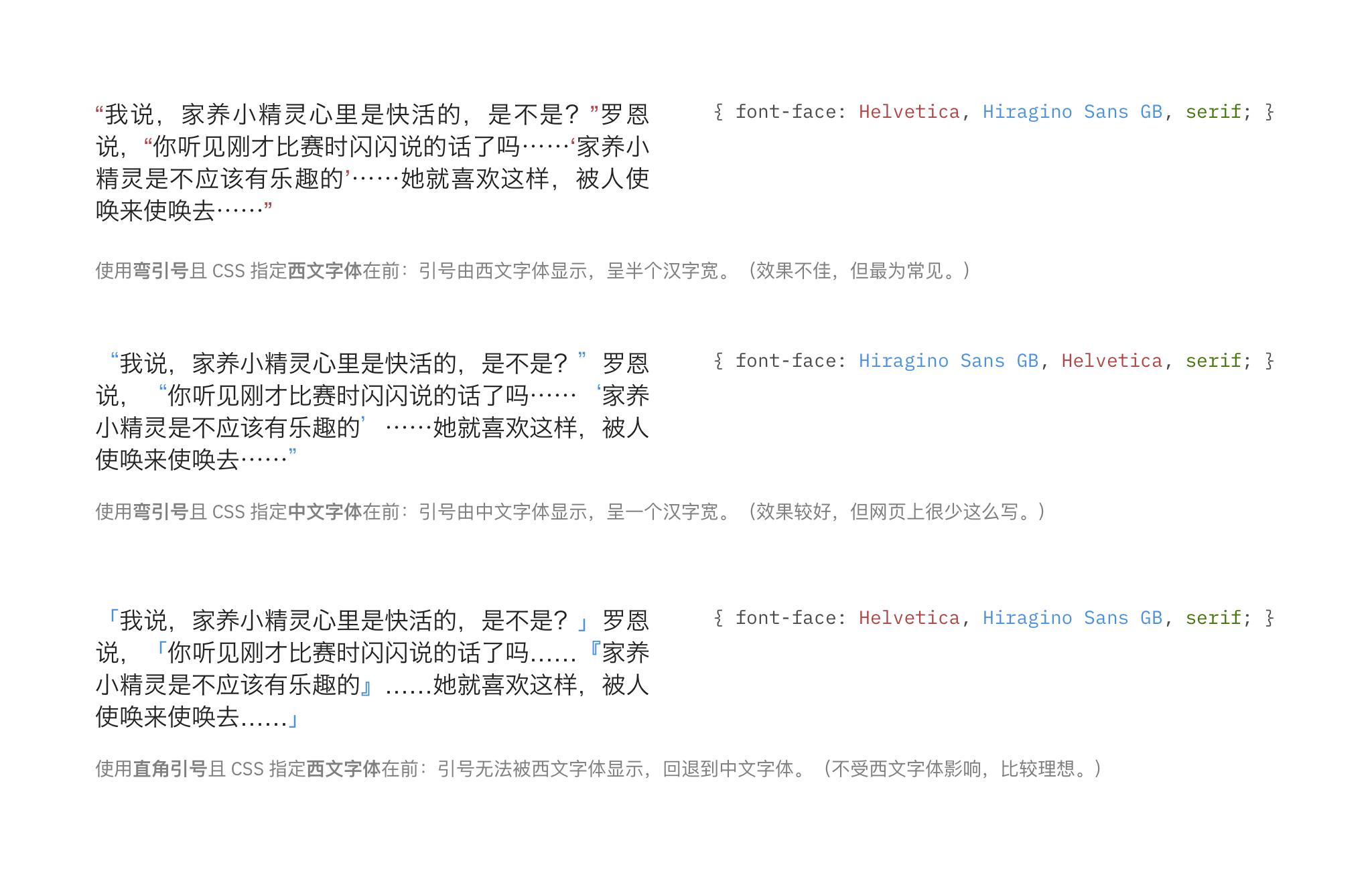两种引号在不同网页设定下的显示效果