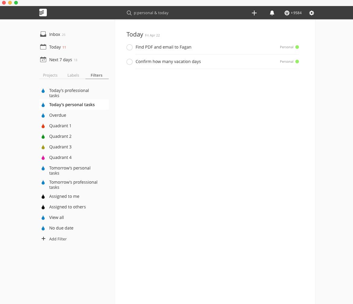 screenshot of Todoist for Mac