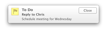 "Notification showing ""To Do: Reply to Chris: Schedule meeting for Wednesday"""