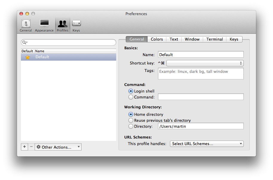 Screenshot of iTerm2 preferences, General section of Profiles pane
