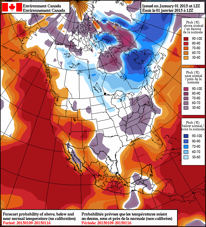 The NAEFS 8-14 day temperature anomaly outlook.