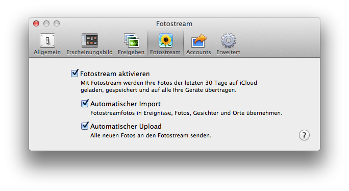 Photo Stream import settings in iPhoto (German)