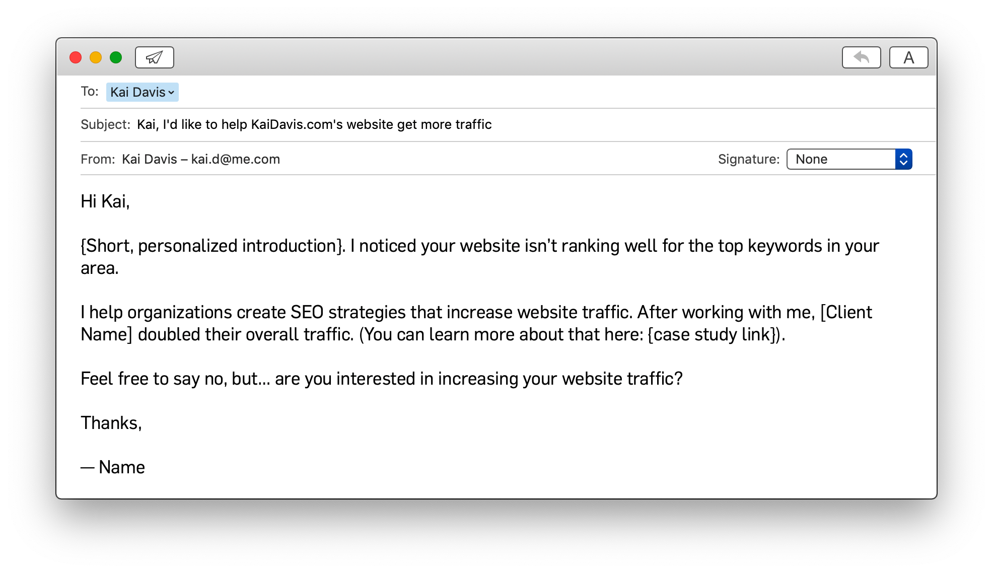 Example Outreach Email