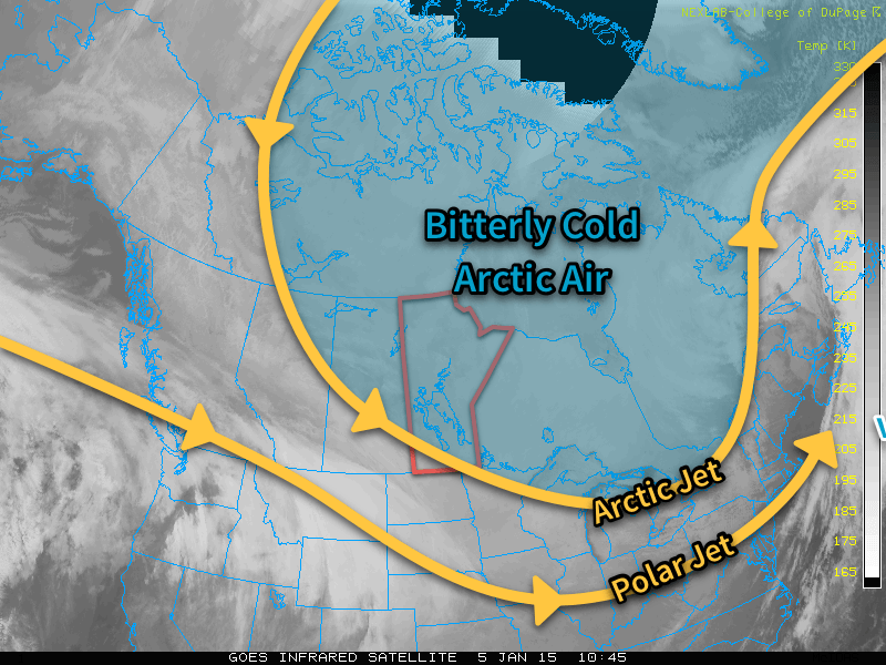 Satellite imagery shows much of Manitoba entrenched on the cold side of the Arctic jet while the entire Prairies remains on the cold side of the Polar jet.