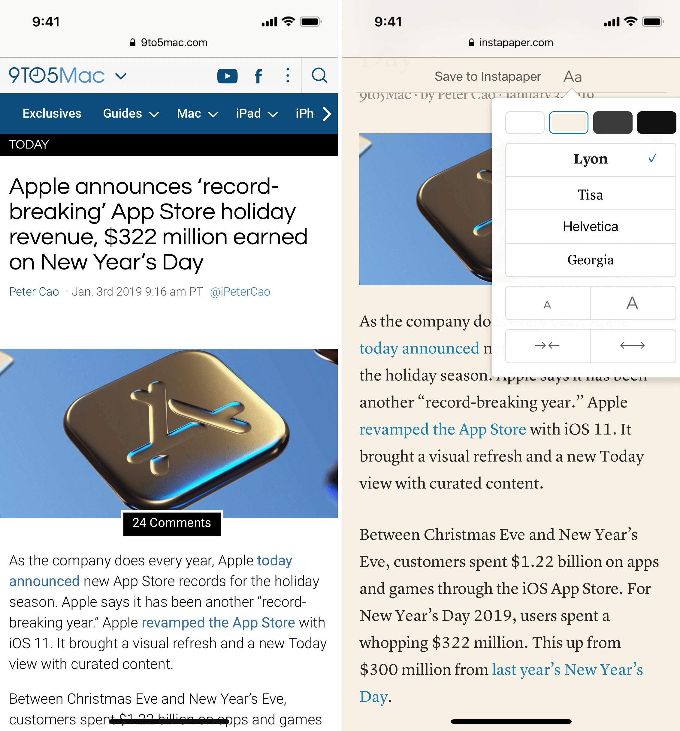 用 Instapaper 临时显示当前网页文章