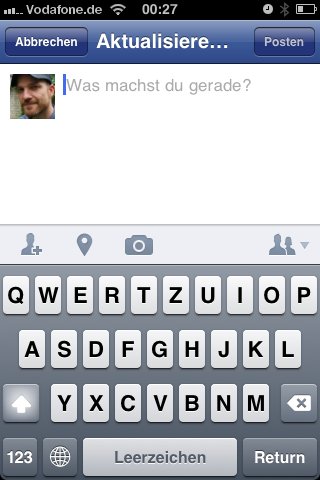 Facebook app sharing screen – new style