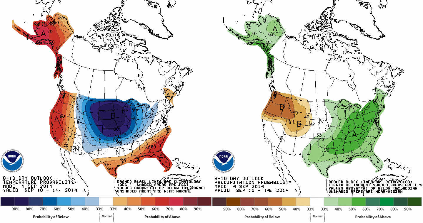 The CPC 6-10 day temperature & precipitation anomaly outlook calls for below normal temperatures and near- to slightly above-normal precipitation.