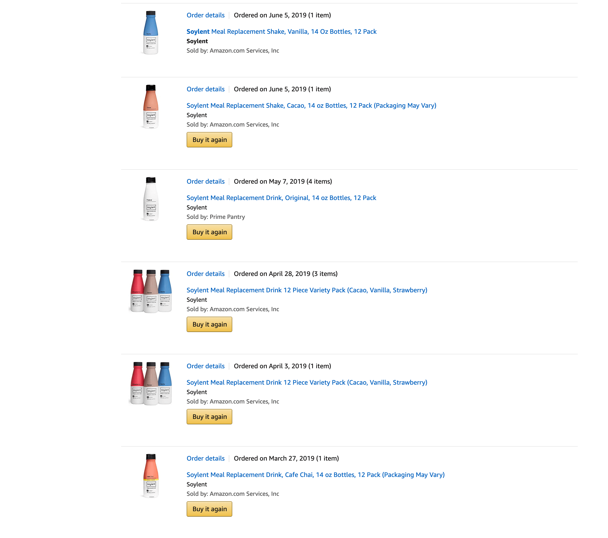 我买过的一些 Soylent