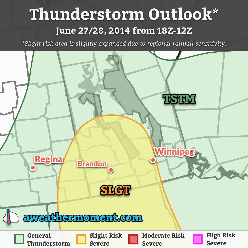 Thunderstorm outlook for June 27 & 28, 2014 for 1PM CDT through 7AM CDT.