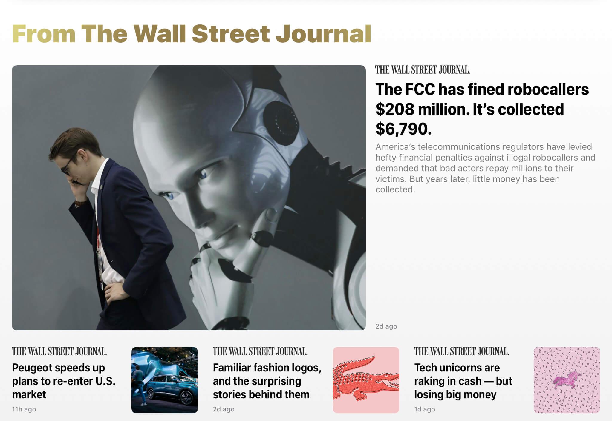 《华尔街日报》的文章只在编辑推荐中能看到少量入口