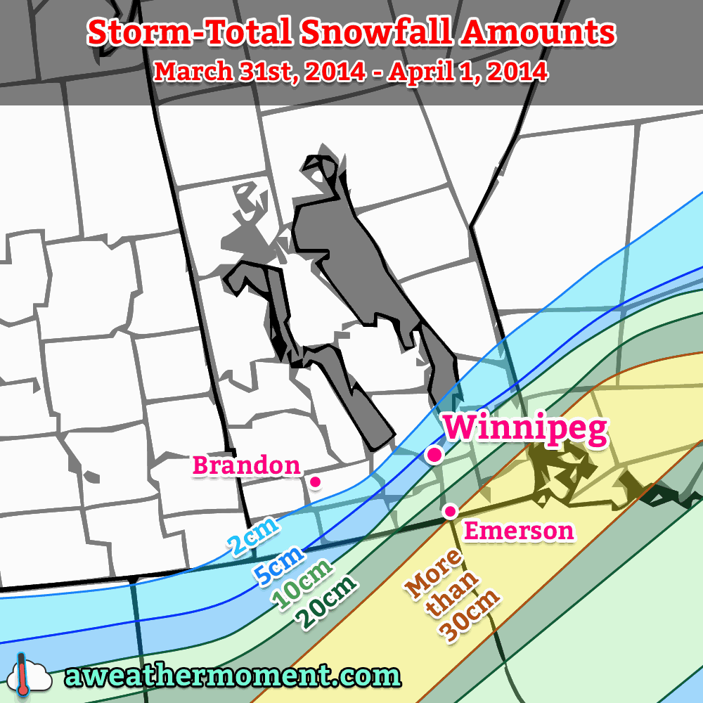 Expected storm-total snowfall amounts.